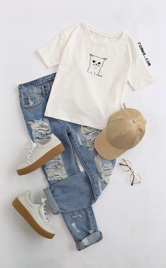White Cat Print Drop Shoulder T-shirt