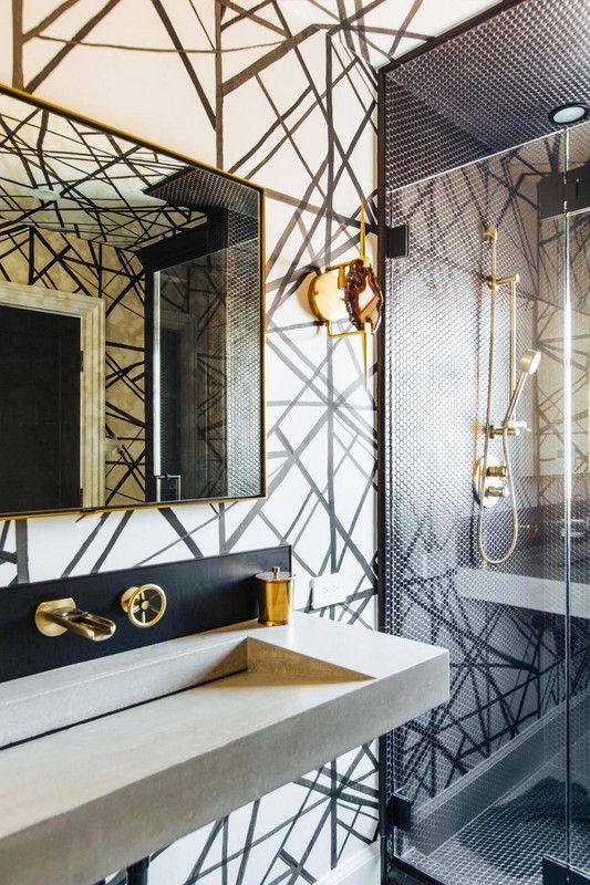 wallpaper trends graphic bathroom wallpaper