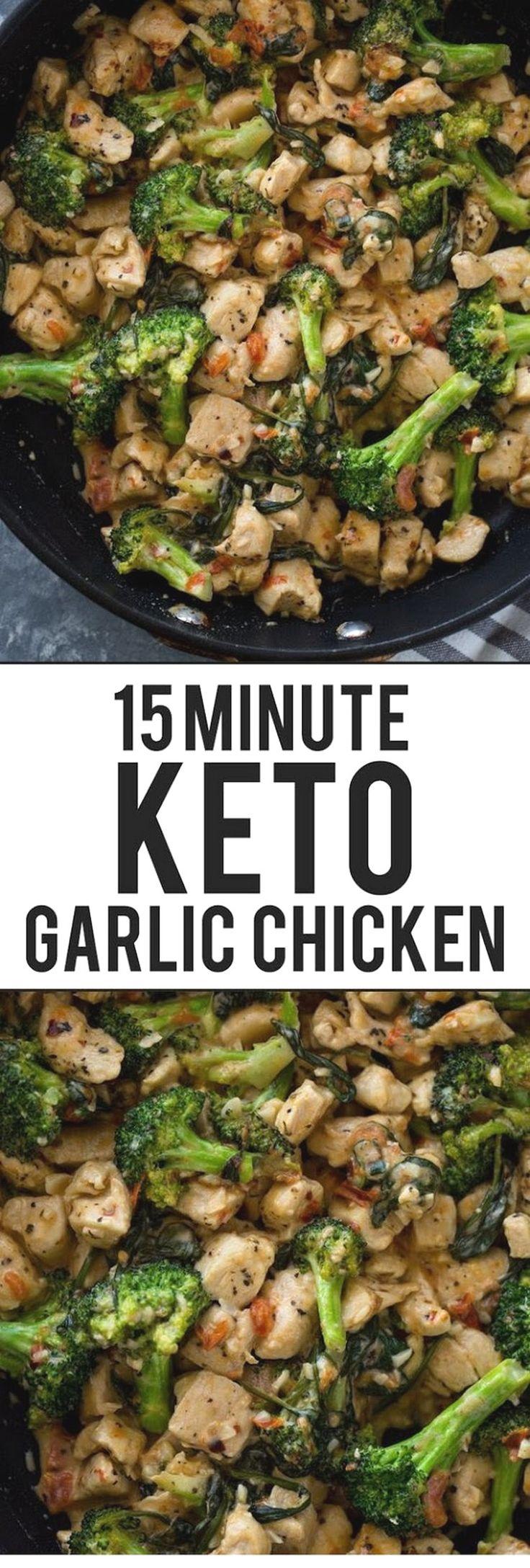 15 Minuten Keto Knoblauch Hähnchen Mit Brokkoli Und Spinat