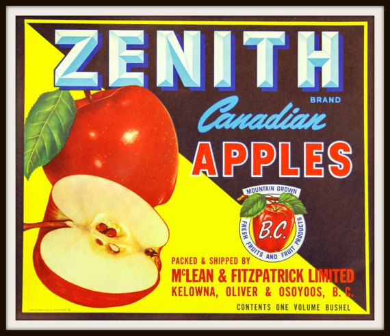 Pair of Circa 1950's Zenith Canadian Apples by vintageadsnprints. Packed and shipped by McLean & Fitzpatrick Limited Kelowna, Olive & Osoyoos, B.C. Contents one volume bushel. 1950's Zenith Canadian Apples Crate Label. McLean & Fitzpatrick Limited. Vintage Zenith Canadian Apples
