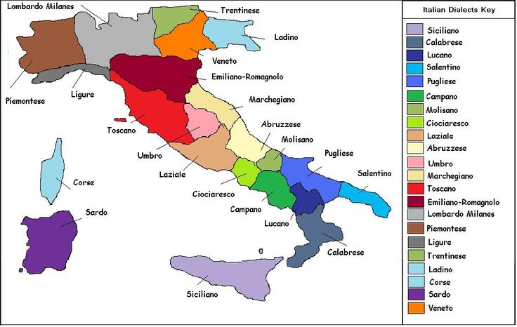 This is a map showing the different dialects of Italian, of which there are numerous and all regionally based. It is interesting to see this as this is where Latin was spread from in the Roman era and that is a very common root language for many of the modern languages.