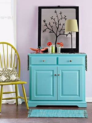 Give an old kitchen cabinet a facelift and use in our bedroom. Preferable 3 wide, bottom shelves for shoes, middle shelves for bins with underwear, scarves etc, and top shelves for trays with jewelery, belts etc. Put Tv on it..