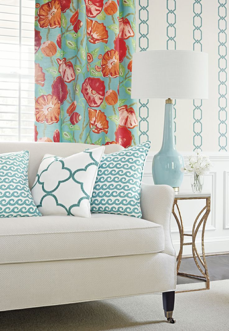 Nassua #fabric in #aqua from the Resort collection. Madeira Chain #wallpaper in #turquoise. Sutton Sofa from #ThibautFineFurniture in Wellesley Herringbone #fabric in #cream.Shore Thing #fabric in #turquoise.Mara Embroidery #fabric in #turquoise. #Thibaut