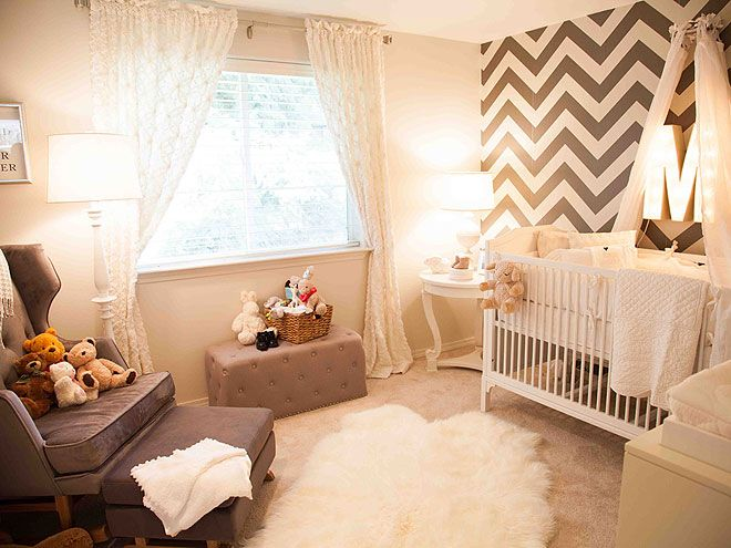 "Jason & Molly Mesnick's neutral nursery for their baby girl.  Love the herringbone wallpaper, marquee ""M"" and the wing back rocking chair."