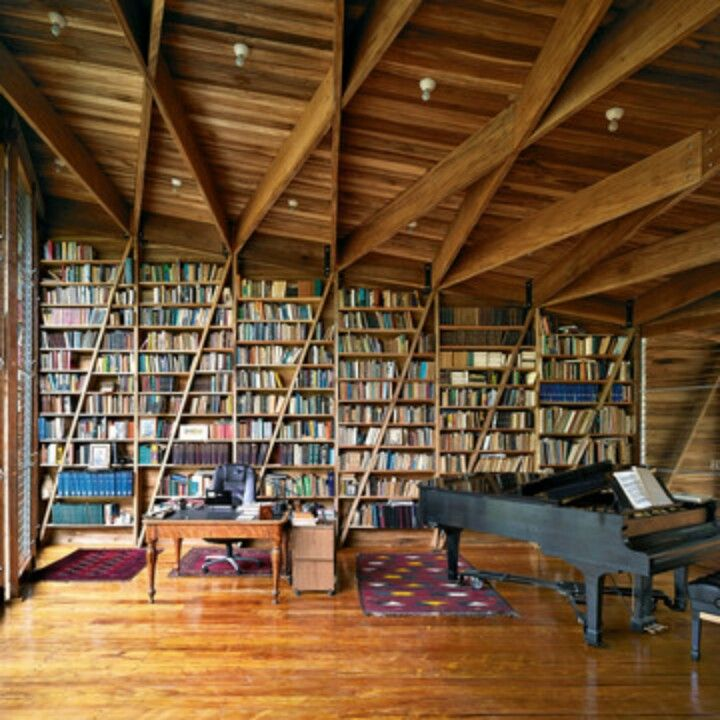 Home library and music room. Mix books with music! Fabulous idea!
