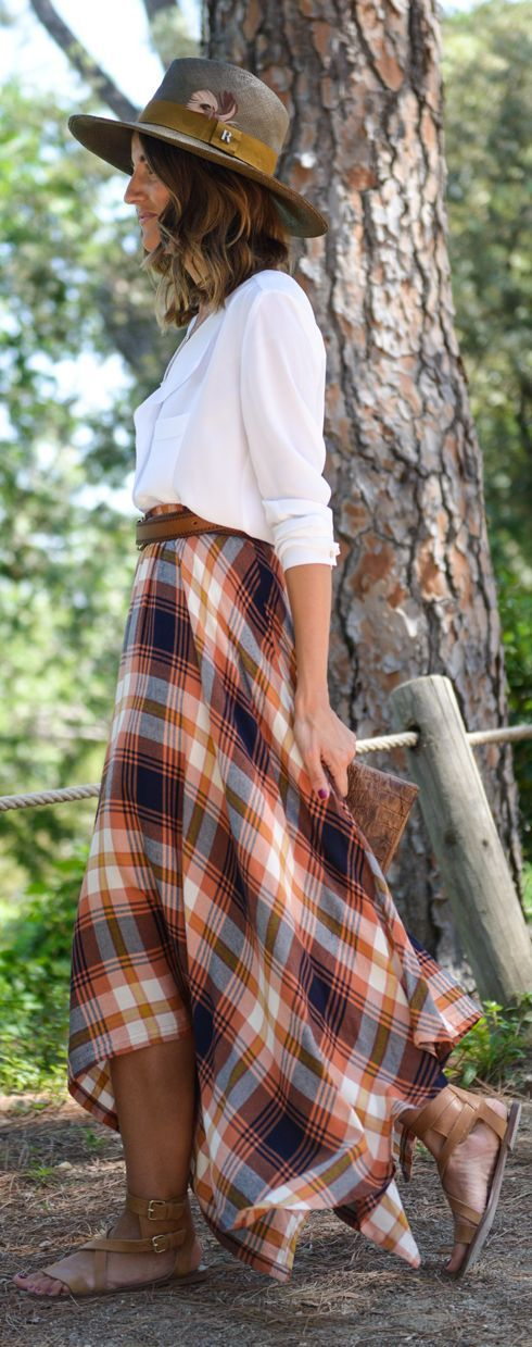 Fall Plaid Maxi Skirt                                                                             Source