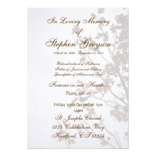 Sample Funeral Invitation. Funeral Reception Invitation Example 3