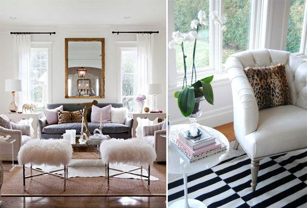 Decoração sala casa poltrona almofada onça