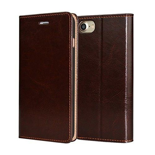 HIMIMASY Luxury Genuine Leather Handmade Flip Case For Iphone7 Plus(5.5 Inch) With Wallet,Card Slot and Stand Function (Orange)