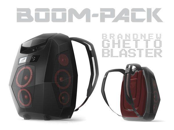boom pack sac a dos boombox BoomPack: Sac à Dos BoomBox Haut Parleurs, Projecteur, Dock iPhone