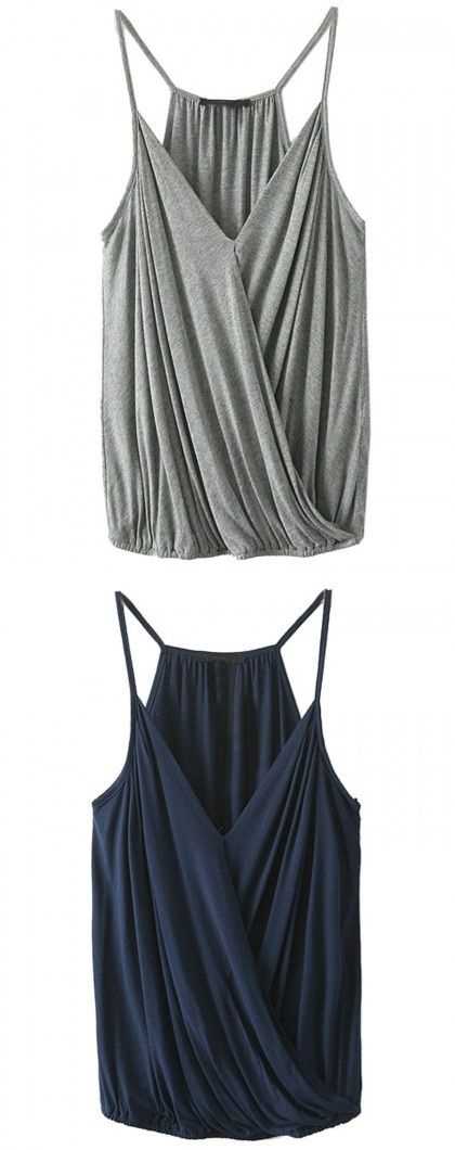 Gray and navy spaghetti strap v-neck ruffle wrap cami - I realize this goes against my statement about not liking puffy stuff around my torso, but I think the spaghetti straps offset that