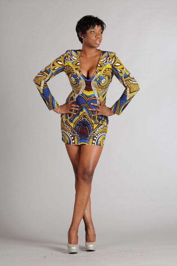 Tiger blue African Print Dress on Etsy, $159.60
