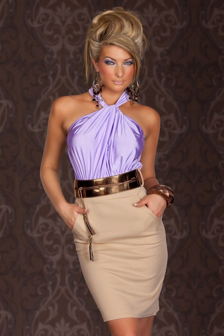 Dizzying Lavender Ruched Halterneck Cocktail Fashion Dress