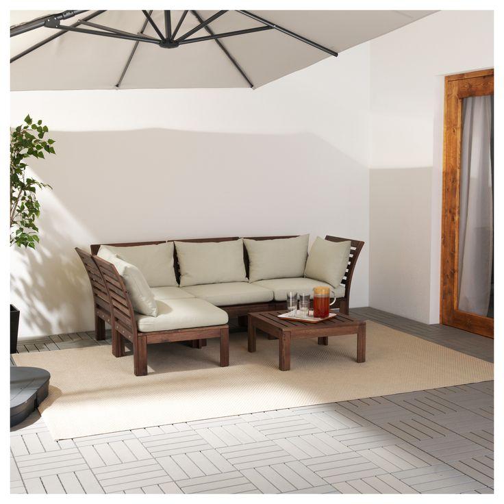 ÄPPLARÖ/HÅLLÖ Corner sofa 3+1, outdoor Brown stained/hållö beige 143/223x80x73 cm  - IKEA