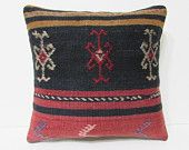 black decorative pillow 18x18 red throw pillow embroidery kilim pillow knit pillow cover moroccan cushion antique pillow case bohemian 23803