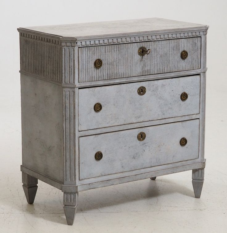 Antique Gustavian Style Chest of Drawers with Old Lock and Key
