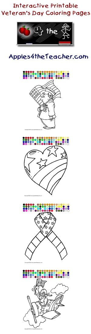 Printable interactive Veterans Day coloring pages, Veterans Day coloring pages for kids   http://www.apples4theteacher.com/coloring-pages/veterans-day/