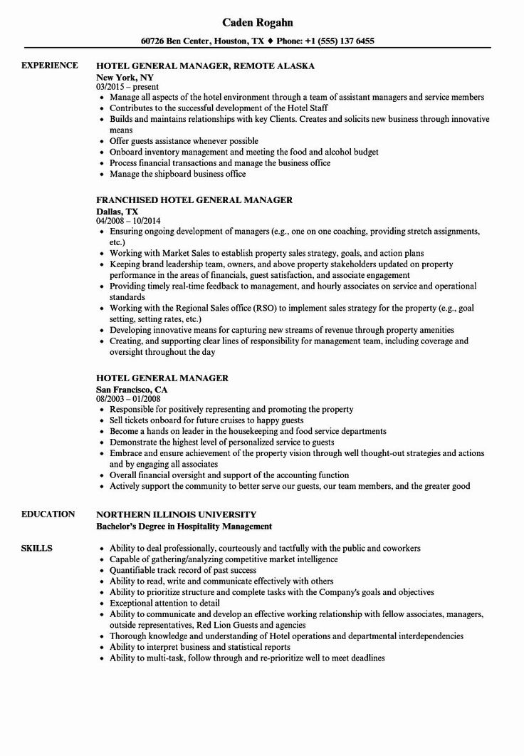 Hotel General Manager Resume Awesome Elegant Sample Hotel