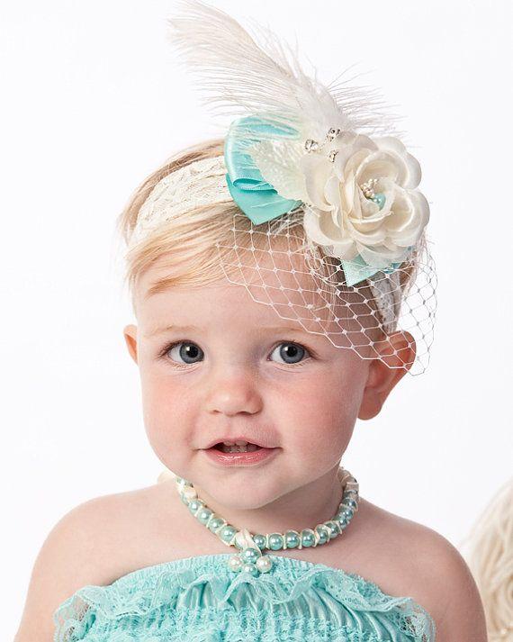 Baby Headband, girls headband, Vintage inspired on stretch lace, $24.50
