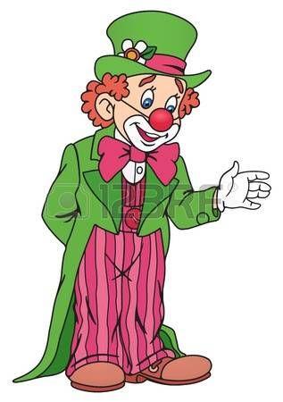 clown cirque: Illustration de clown de cirque drôle dans Outfit Colorful