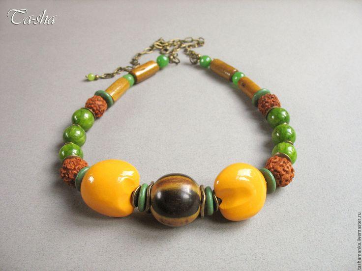 """Купить """"Кумкват"""" колье этническое бусы желтые зеленые - бусы из камней, колье в подарок  etno style_ ethno necklace_ethno jewelry"""