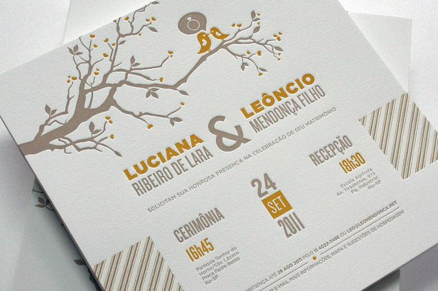 Convite de casamento - letterpress