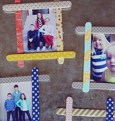 eighteen25: Popsicle Stick Frames Like this.