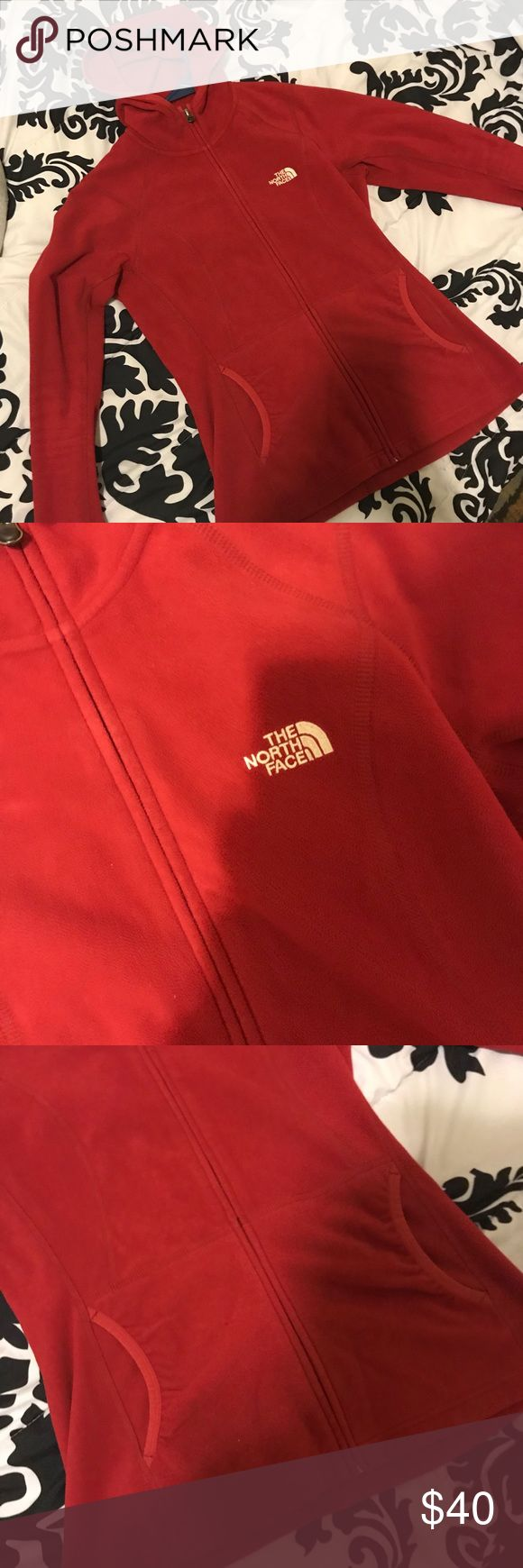 "Women's Red NorthFace Fleece Authentic Women's Red ""North Face"" Fleece. Great For Fall Days As A Fleece Or In The Winter Under A Parka. Comes With Thumbholes For Texters :) Women's Shape So It Looks Slim In The Waist And Fans Out At The Hip. GREAT CONDITION!!! North Face Jackets & Coats"