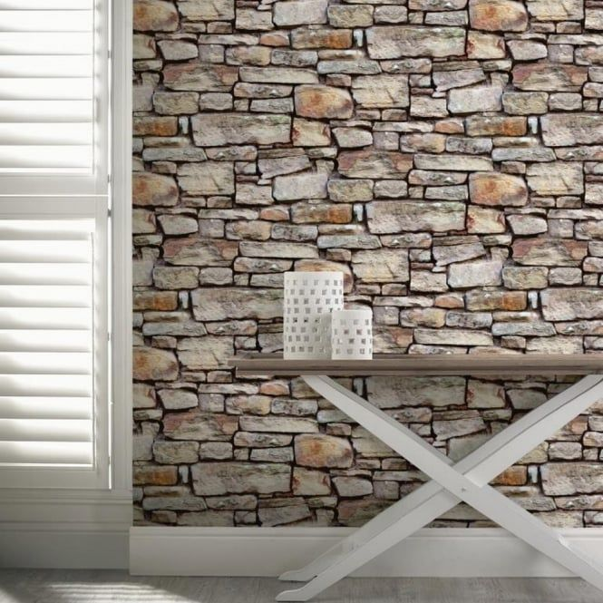 Cornish Stone Pattern Brown Wallpaper Faux Effect Realistic Rustic Brick Stone Wallpaper Brick Effect Wallpaper Brick Wallpaper