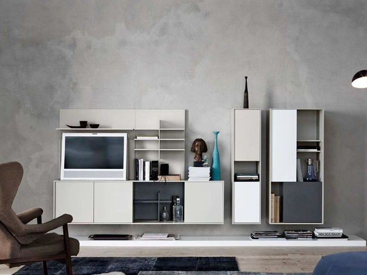 SECTIONAL WALL-MOUNTED LACQUERED STORAGE WALL C_DAY K14 | SECTIONAL STORAGE WALL | CESAR ARREDAMENTI
