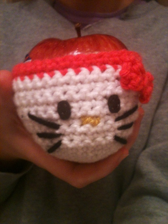 Handmade Hello Kitty Crochet Apple Cozy