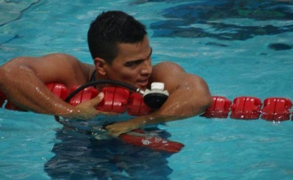 Mauricio Fernández Castillo, campeón mundial de Natación con Aletas en 50 metros superficie, el 26 de junio en Volos, Grecia.