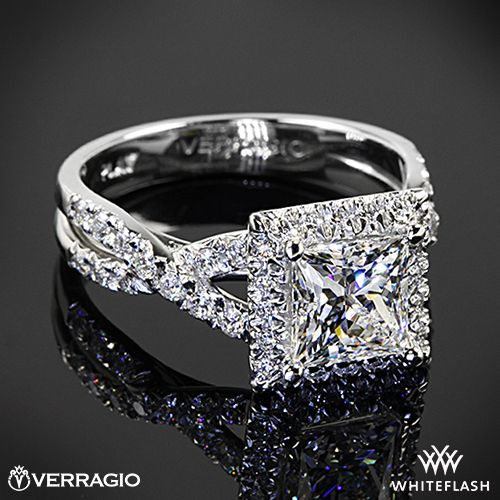 platinum verragio eng 0379 square halo diamond engagement ring - Verragio Wedding Rings