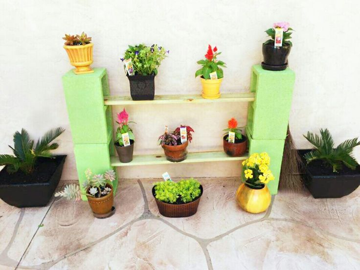Diy outdoor cinder block plant shelf diy pinterest for Cinder block plant shelf