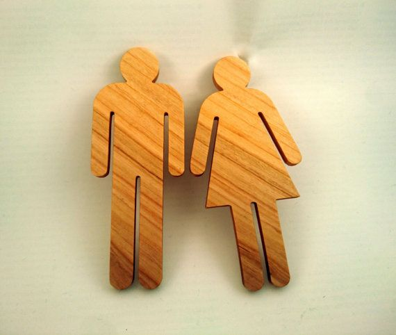 Cerise signe WC pour homme et femme toilettes, signe de la salle de bain, Restaurant décor, panneau en bois, matériaux environnement vert écologique