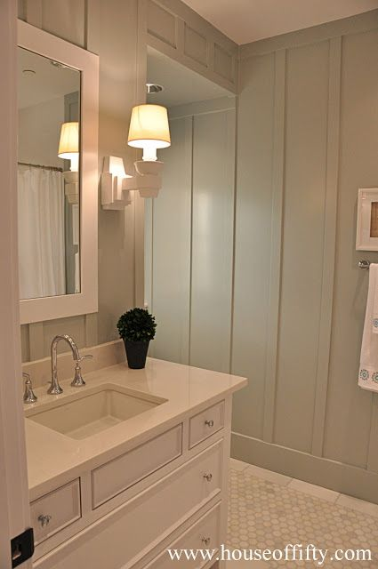 """Narrow battens (board & batten look) on a bath wall, very cottage. 1.5"""" lattice strips at 12"""" on center, glued, equi-distant from the corners works well."""