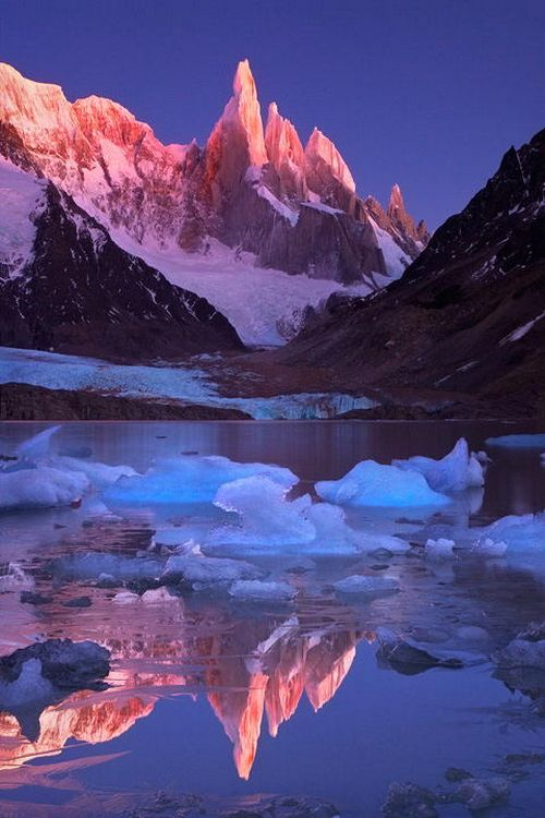 Cerro Torre is one of the mountains of the Southern Patagonian Ice Field in South America. It is located in a region which is disputed between Argentina and Chile, west of Cerro Chalten - via Alex Shar's photo on Google+