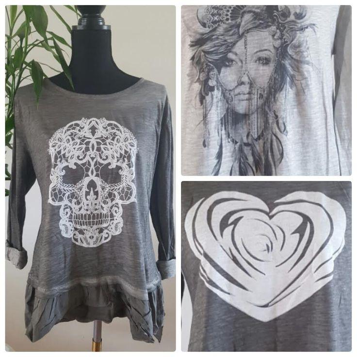 Grijze blouse met skull, hart of vrouw - Amsterdam Tattooing