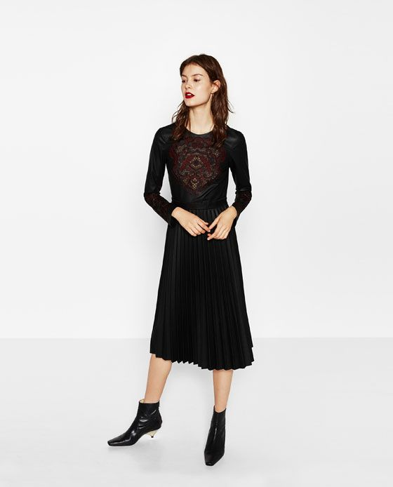 ZARA - WOMAN - EMBROIDERED DRESS WITH PLEATED SKIRT