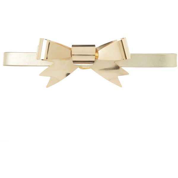 Rodarte Metallic Gold Skinny Leather Waist Belt with Large Gold Bow... ($575) via Polyvore featuring accessories, belts, gold, rodarte, bow belts, gold belt, gold bow belt and gold metallic belt
