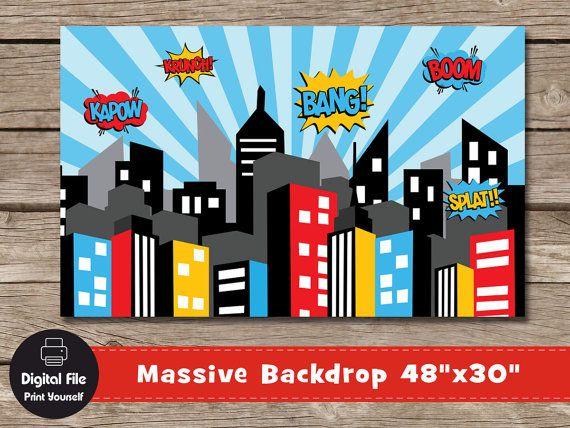 Superhero City Backdrop  Play Room Decor 48x30