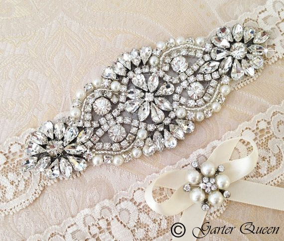 Ivory Lace Garter Set - add a MONOGRAM and make your wedding garter special! Keepsake garter is decorated with a delicate handmade applique beaded with genuine rhinestone crystals and pearls. Toss garter is embellished with a rhinestone button and a ribbon bow.
