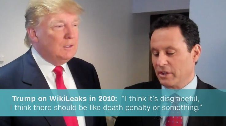 "Donald Trump called WikiLeaks ""disgraceful"" and suggested there be a ""death penalty"" for their actions during a 2010 interview.  But in 2016, when he felt Wiki Leaks could help him get elected he LOVES Wiki Leaks. Really??? MAKING AMERICA GREAT AGAIN??? https://www.youtube.com/watch?v=d4WiSrA-IG4"