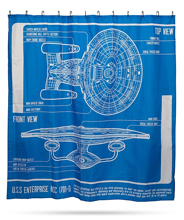 Your bathroom will get a cool geek makeover when you hang this Star Trek: TNG Enterprise Blueprint Shower Curtain. It features a schematic diagram of the Enterprise D.  You can study everything from the impulse engines, the dorsal phaser array, to the deflectors while you get clean.    Sta