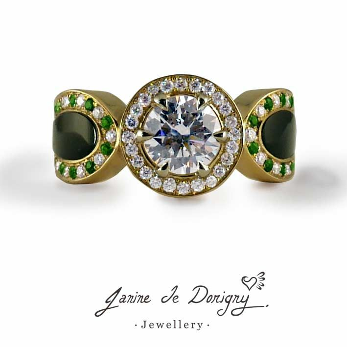 Custom designed ring, diamonds, tsavorites, onyx and 18K green gold