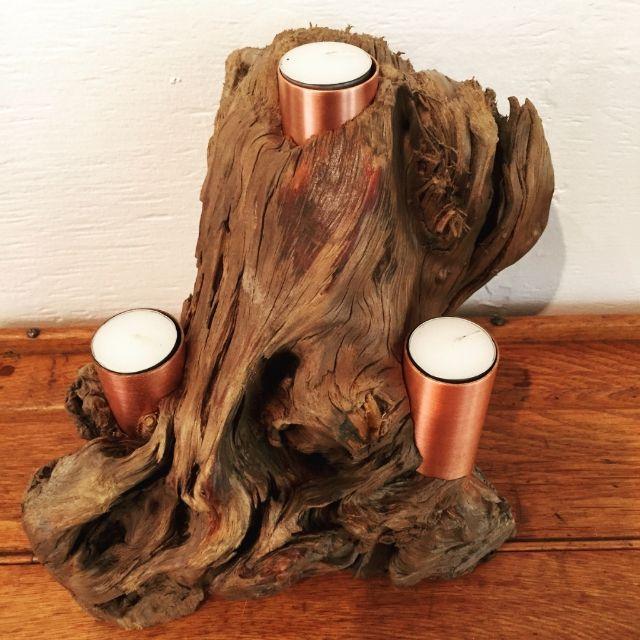 Breez - Artisan Driftwood and Copper Candelabra