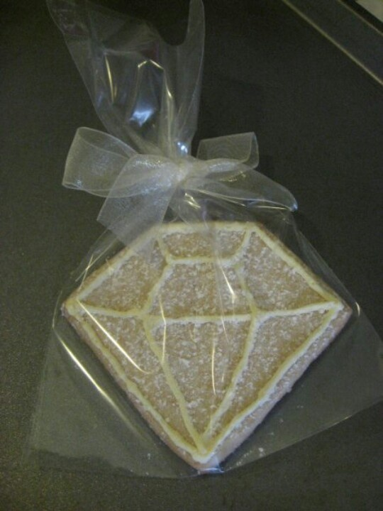 Diamond cookie favor for a 60th wedding anniversary. Use a square cookie cutter then cut off one corner