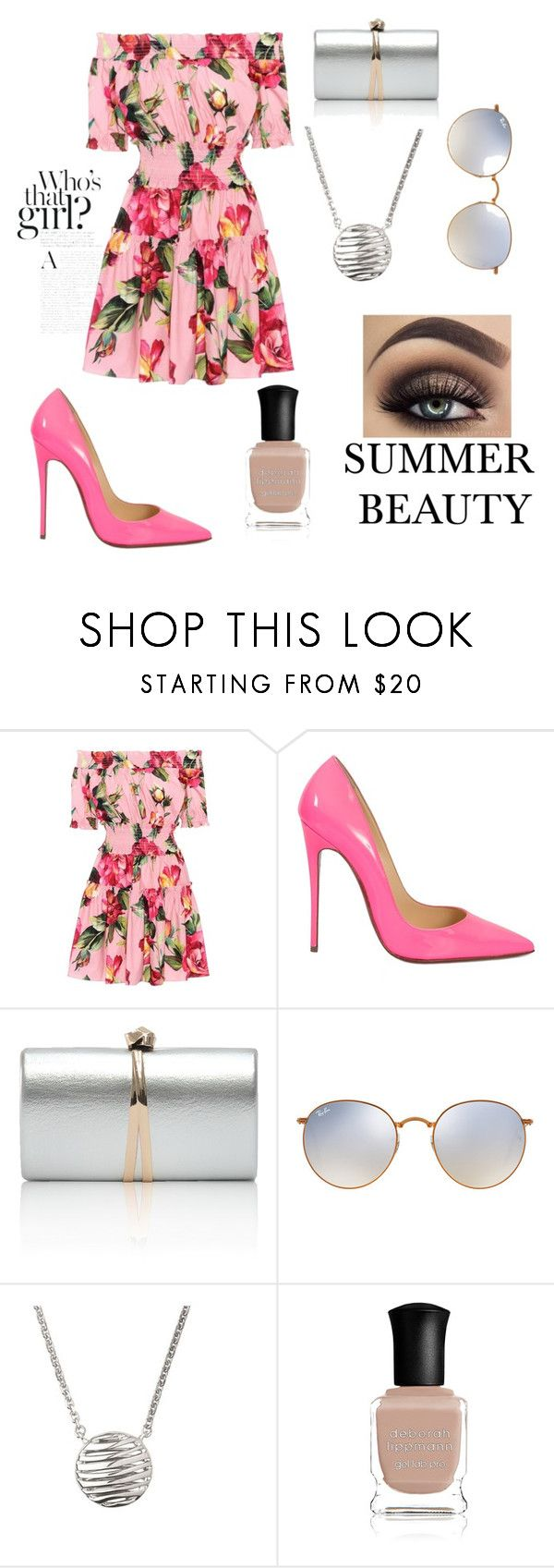 """Summer Beauty Aphrodite Cabin"" by ambermcdevitt ❤ liked on Polyvore featuring Dolce&Gabbana, Christian Louboutin, Ray-Ban, Links of London and Deborah Lippmann"