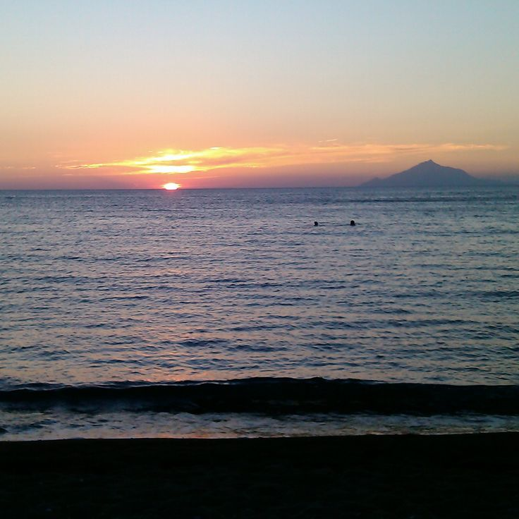 Myrina sunset, Athos mountain on view, Limnos island - photo by Electra Koutouki 2014