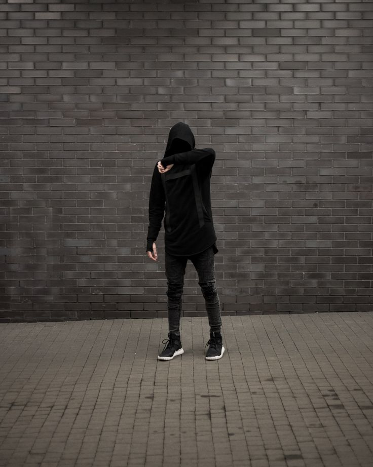 Yield Clothing Black Harness Hoodie + Ripped Light Marble Denim